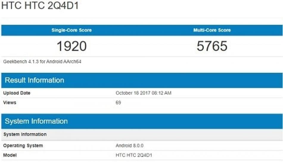 Seri HTC baru muncul di Geekbench, apakah ini HTC U11 plus
