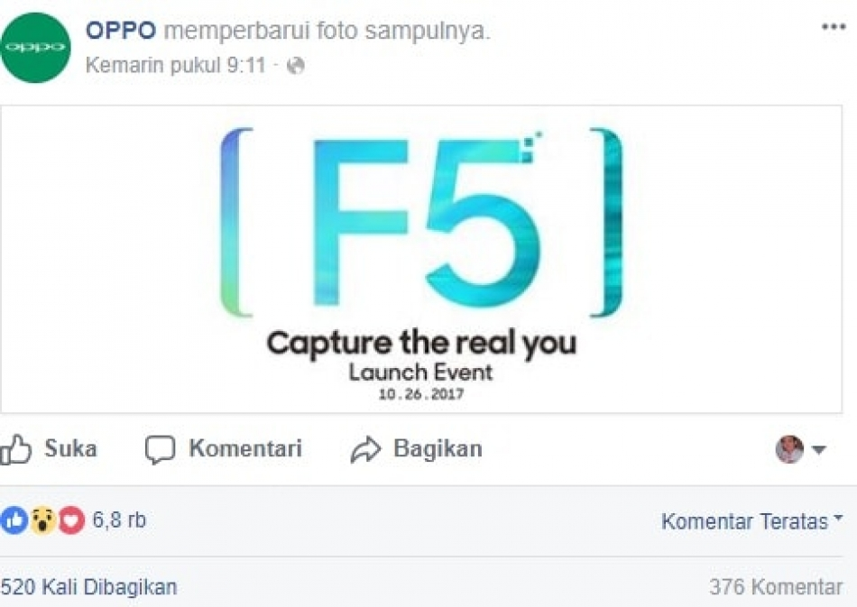 [LAUNCHING] Oppo F5 launching tanggal 26 Oktober 2017