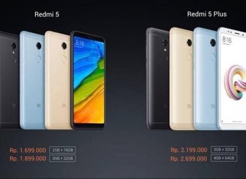 Redmi 5 kini hadir di Indonesia dengan harga 1.699.000